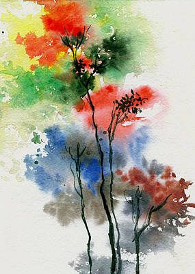 Anil Nene Painting - Trees In Colors by Anil Nene