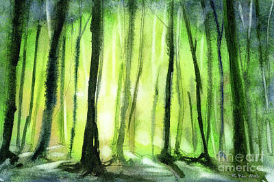 Painting - Trees In Forest Silhouetted At Sunset.  Watercolor Painting Of T by Ryan Fox