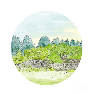 Trees In Park With Cornwall Oval Watercolor Art Print