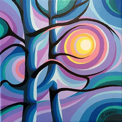 Painting - Trees In Sunset by Christine Karron