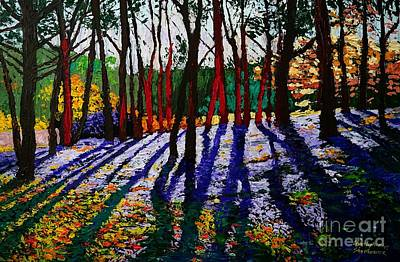 Painting - Trees In The Forest By Christopher Shellhammer by Christopher Shellhammer