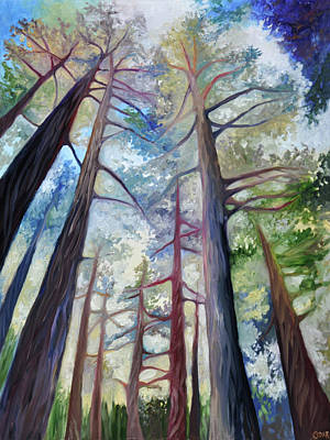 Basin Park Painting - Trees In The Morning by Cedar Lee