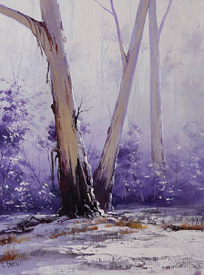Frosty Painting - trees in winter Australia by Graham Gercken