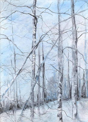 Trees In Winter Snow Print by Robin Miller-Bookhout