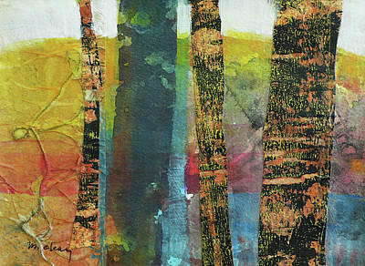 Blue Abstracts Mixed Media - Trees by Melody Cleary