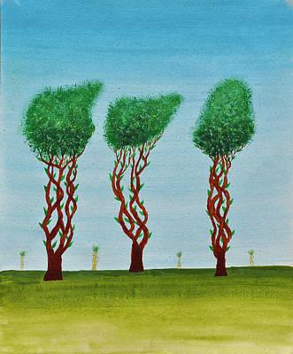 Surrealistic Painting - Trees Of Jasoon by Sumit Mehndiratta