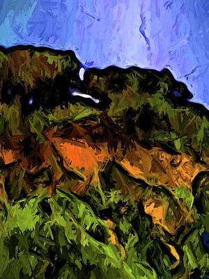 Digital Art - Trees On A Cliff Edge by Jackie VanO