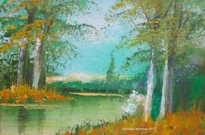 Painting - Trees On The Bank by Monique Montney