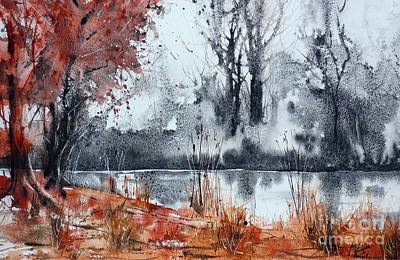 Trees On The Pond Side Original by Andre MEHU