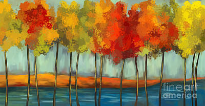 Painting - Trees On The River by Tim Gilliland