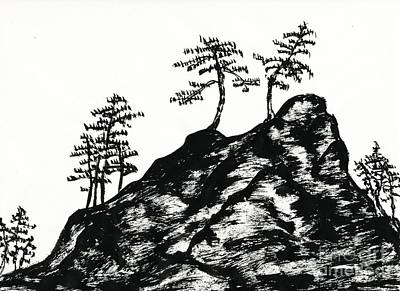 Ink Painting - Trees On The Rock by Kerstin Ivarsson