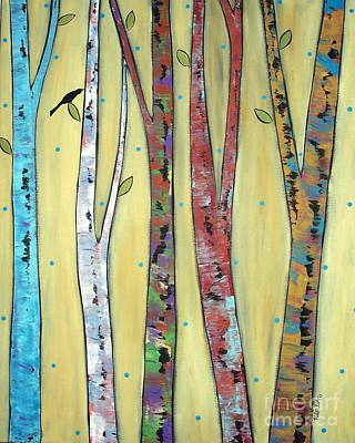 Tree Art Painting - Trees On Yellow by Karla Gerard