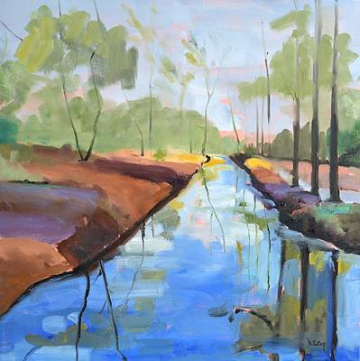 Painting - Trees Reflected Oil Painting by Donna Tuten