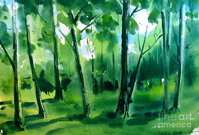 Painting - Trees Reservoir Wooded Park Framed Matted Glassed by Charlie Spear