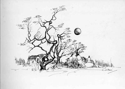 Trees Rocks And A Ball Art Print by Padamvir Singh