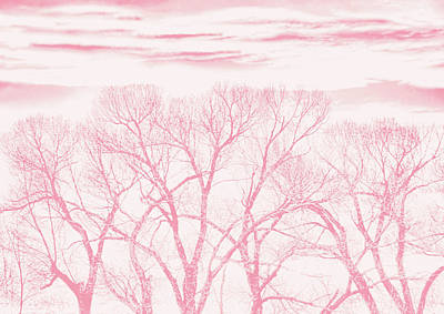 Art Print featuring the photograph Trees Silhouette Pink by Jennie Marie Schell
