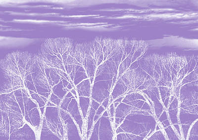 Art Print featuring the photograph Trees Silhouette Purple by Jennie Marie Schell