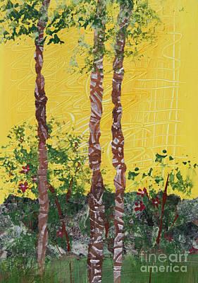 Mixed Media - Trees, Wall And Yellow Sky by Janyce Boynton