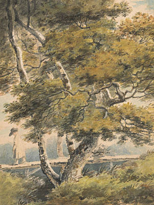 Painting - Trees, With A Man Crossing A Footbridge by Paul Sandby
