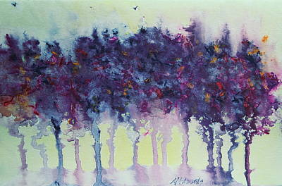 Painting - Trees With Hummingbird 2 by Marna Edwards Flavell