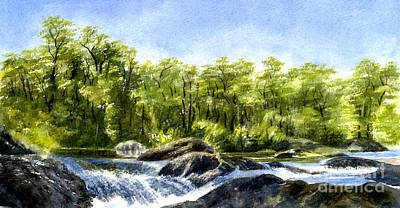 Waterfalls And Trees Landscape Painting - Trees With Rocks And Waterfall by Sharon Freeman