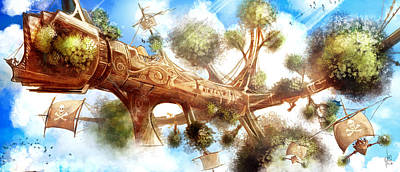 Pirate Ship Painting - Treeship Pirates Of The Sky by Luis Peres