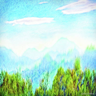 Digital Art - Treetop Mountain Vista by Joel Bruce Wallach