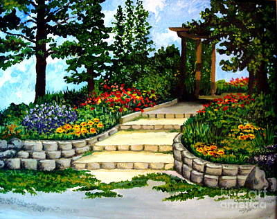 Art Print featuring the painting Trellace Gardens by Elizabeth Robinette Tyndall