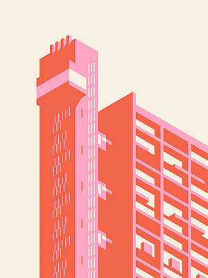 Trellick Tower London Brutalist Architecture - Plain Cream Art Print