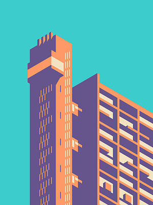 Trellick Tower London Brutalist Architecture - Plain Cyan Art Print