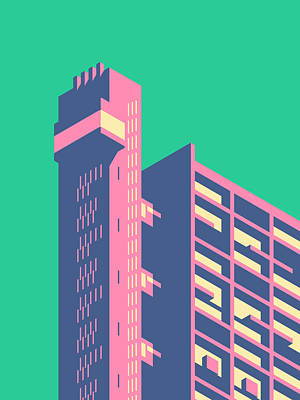 Trellick Tower London Brutalist Architecture - Plain Green Art Print