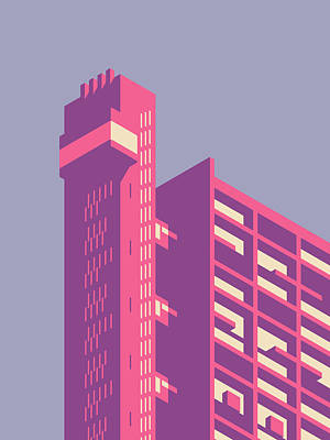 Trellick Tower London Brutalist Architecture - Plain Lavender Art Print