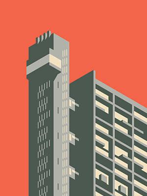 Architecture Digital Art - Trellick Tower London Brutalist Architecture - Plain Red by Ivan Krpan