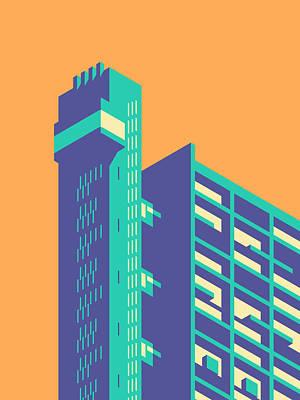 Brutalist Digital Art - Trellick Tower London Brutalist Architecture - Plain Tangerine by Ivan Krpan