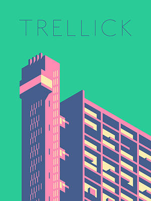Trellick Tower London Brutalist Architecture - Text Cream Art Print