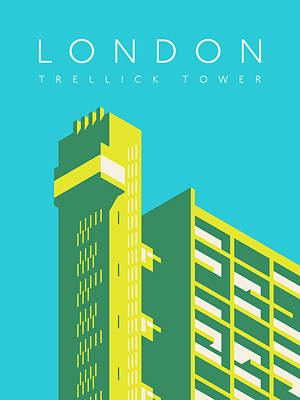 Trellick Tower London Brutalist Architecture - Text Cyan Art Print