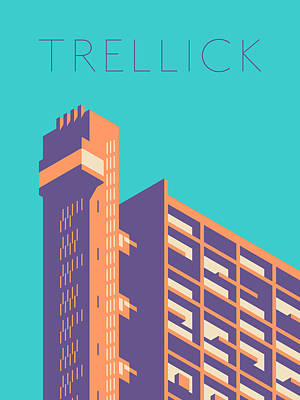 Trellick Tower London Brutalist Architecture - Text Green Art Print