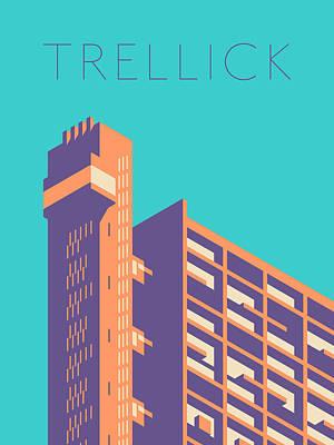 Architecture Digital Art - Trellick Tower London Brutalist Architecture - Text Cyan by Ivan Krpan