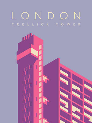 Trellick Tower London Brutalist Architecture - Text Lavender Art Print