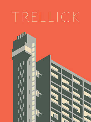 Architecture Digital Art - Trellick Tower London Brutalist Architecture - Text Red by Ivan Krpan