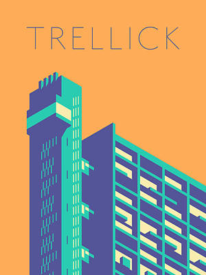 Trellick Tower London Brutalist Architecture - Text Tangerine Art Print