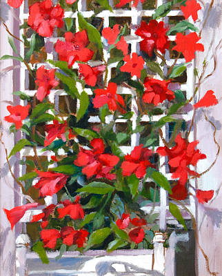 Painting - Trellis With Mandavilla  by Michael McDougall