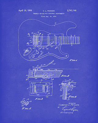 Drawing - Tremolo Device 1956 Patent Art Darkblue by Prior Art Design
