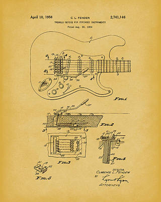 Drawing - Tremolo Device 1956 Patent Art Lightbrown by Prior Art Design
