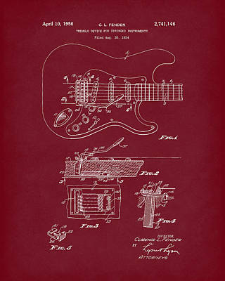 Drawing - Tremolo Device 1956 Patent Art Red Dark by Prior Art Design