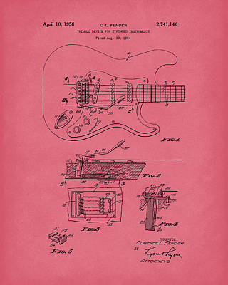Drawing - Tremolo Device 1956 Patent Art Red by Prior Art Design