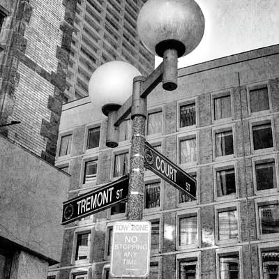 Photograph - Tremont And Court St Urban Black And White Boston Lamp Post by Joann Vitali