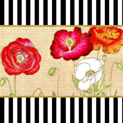 Digital Art - Trendy Red Poppy Floral Black And White Stripes by Tracie Kaska