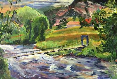 Rickety Bridge Painting - Trepidation by Joan Willoughby