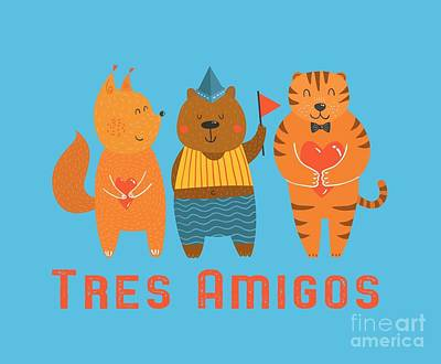 Digital Art - Tres Amigos Cute Animals Tee by Edward Fielding